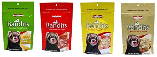 Ferret Peanut Butter (Marshall Bandits Premium Ferret Treats Variety Pack - 4 Flavors (Chicken, Peanut Butter, Banana, and Meaty Bacon) - 3 Ounces Each (4 Total Pouches) (Variety, Pack of 4 (12 oz total)))