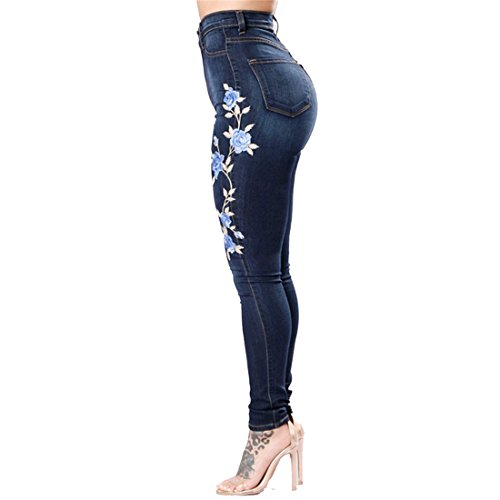 Dunland Pantalons Femme Dchirs Broderie Denim Skinny Jeans qarqBx4