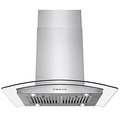 """Perfetto Kitchen and Bath 30"""" Island Mount Stainless Steel and Tempered Glass Made Kitchen Cooking Vent Range Hood Fan w/ Classical Push Button Control"""
