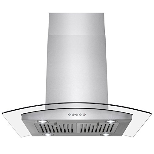 "Perfetto Kitchen and Bath 30"" Island Mount Stainless Steel and Tempered Glass Made Kitchen Cooking Vent Range Hood Fan w/ Classical Push Button Control"