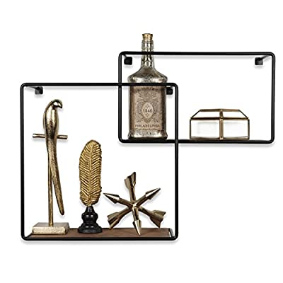 ArtifactDesign Wall Mounted Rustic Decor Iron and Wood Intersecting Cube Floating Shelves Wood Set of 2 (Black) - Ingenious Design: Unlike other intersecting floating shelves these cubist shelves promise a unique and whimsical touch to your living room décor, the rustic finish with iron black borders and natural wood color will complement the look of your decoration. Basic Installation: Without requiring any frustrating assembly the display shelves are easy to mount on your unused wall space. The hooks and brackets are included in the package to save you time, energy and extra money. You Can't Go Wrong: With a chic, stylish and trendy design you can do yourself a favor and decorate your living room like a professional, the vintage look makes it impossible to create a disappointing décor. - wall-shelves, living-room-furniture, living-room - 41PjN6cDRtL. SS400  -