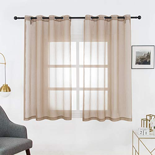 Bermino Faux Linen Sheer Curtains Voile Grommet Semi Sheer Curtains for Bedroom Living Room Set of 2 Curtain Panels 54 x 45 inch Brown (Sheer Brown Curtains)