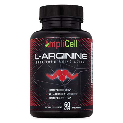 Amplicell Extra Strength L-Arginine | Nitric Oxide Supplement | Supports Blood Circulation and Heart Health | with L Citrulline and Beta Alanine | 1200mg 60 Vegetarian Capsules