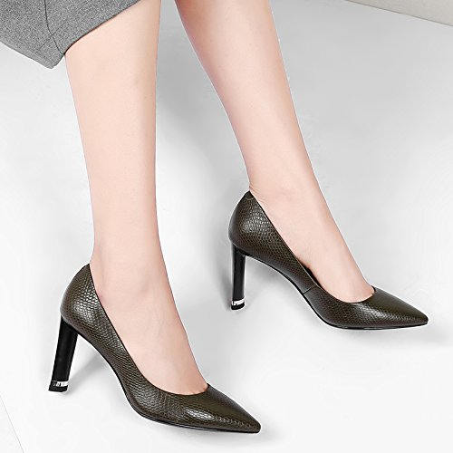 Ladies Fashion Block Heels Genuine Leather Women Pumps Black High Heels Party Women Court Shoes Khaki LHaHPF