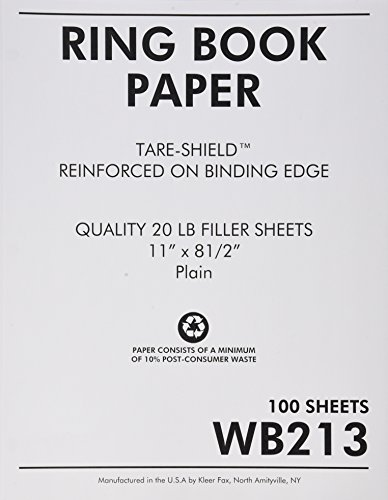 Sparco Reinforced Filler Paper, Plain, 11 x 8-1/2 Inches, White (SPRWB213) by Sparco