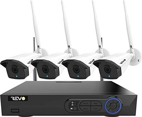 Revo America Wireless 4Ch. Security System - 1TB HDD 5MP Wi-Fi NVR, 4 x 5MP Indoor/Outdoor Bullet Cameras, Remote Access via Smart Phone, Tablet and PC