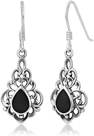 925 Sterling Silver Bali Inspired Gemstone Filigree Dangle Hook Earrings