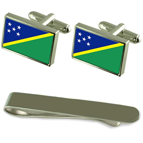 Solomon Islands Flag Silver Cufflinks Tie Clip Engraved Gift Set by Select Gifts
