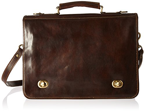 Alberto Bellucci Men's Italian Leather Double Compartment D. Brn Laptop Messenger Bag, Dark Brown, One Size - Over Double Compartment Laptop Bag