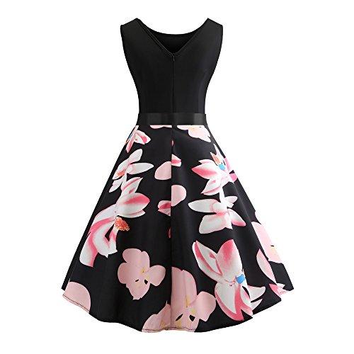iLUGU O-Neck Sleeveless Knee-Length Dress for Women Lily Print A-Line Lace Dresses for Women Pink