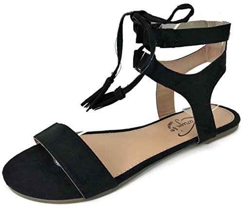 Karyn's Ankle Wrap Gladiator Strap Sandal with Lace up Tassle Tie Closure, Black 7 (That Tie Straps)