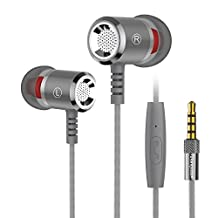 Langsdom M400 Earbud Earphones Stereo Bass Remote Control with Microphone for iPhone, iPad, Samsung, Android,MP3 & MP4 Players (Titanium Grey)