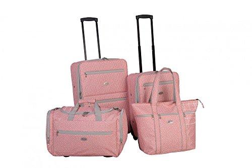 American Flyer Greek Key 4-Piece Rolling Luggage Set, Coral