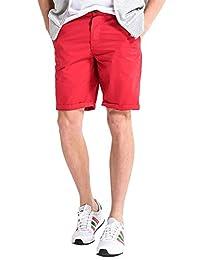 Yollmart Men's Plain Flat Front Casual Walking Shorts Trousers