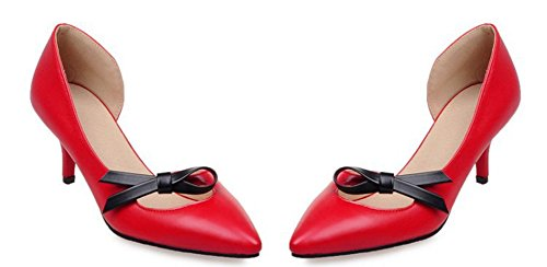 Aisun Womens Sweet Bowknots Pointed Toe Dress Stiletto Kitten Heels Slip On DOrsay Pumps Shoes Red Vqmia