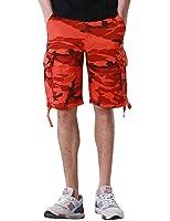 Match Men's Retro Camo Plaid Summer Polo Cargo Shorts #S3620