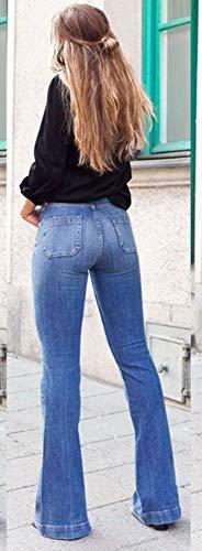 Jeans XQshop Ajustados Jeans Adelgazan Cintura Las Mujeres Vaqueros de Pantalones Delgada Flare Fashion 4FpHICwFxq