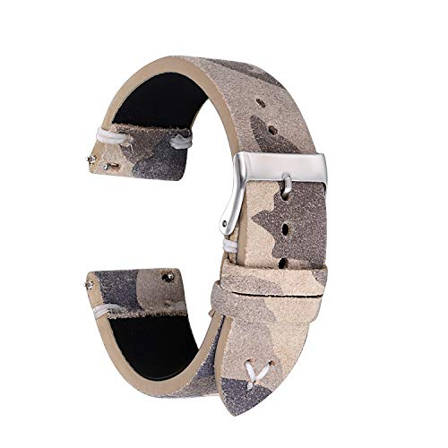 20mm Watch Strap - Straps Guy Suede Band with Cream camo Pat