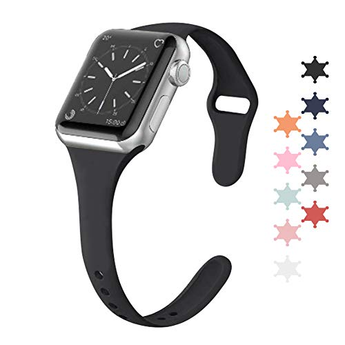 BANAUS Compatible for Apple Watch Band 38MM 40MM, Silicone Slim Women Apple Watch Bands Wristband Compatible for Apple Watch Series 4 3 2 1(Black)