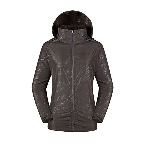(LeoVera Unisex UV Protect Quick-Dry Lightweight Windbreaker Outdoor Hoodie Skin Coat Skin Jackets LVPFY118-Deep Grey-XXXL)