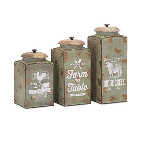 IMAX 95727-3 Farmhouse Lidded Metal Canister - [Set of 3] Handmade Container with Mango Wood Lid. Kitchen Storage Accessories - Green 3 Piece Canister