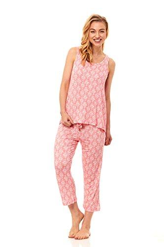 Rene Rofe Women's Sleepwear Lace Sleeveless Tank Top Shirt & Capri Pants Pajama Bottom Set (Medium, Coral) (Sleeveless Capri Pajamas)
