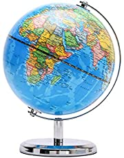 Exerz 14cm World Globe - Educatief/Geografische/Moderne Bureaubladdecoratie - RVS Boog en Basis - voor School, Thuis en Kantoor (Blauw Politiek 14cm)