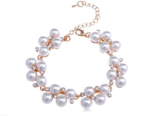 Alilang Gold Toned Faux Pearl Crystal Cluster Style Bracelet for Women