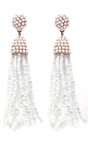 NLCAC Women's Beaded tassel earrings Long Fringe Drop Earrings Dangle White