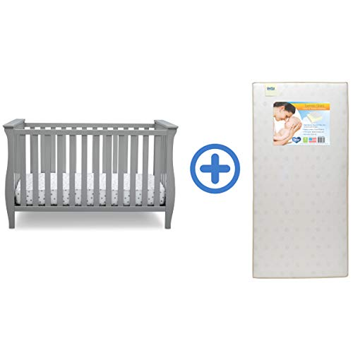 Delta Children Lancaster 3-in-1 Convertible Baby Crib & Twinkle Stars Waterproof Fiber Core Crib and Toddler Mattress, Grey