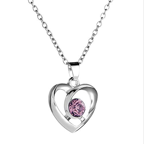NC107 Cute Sliver Pink Crystal Love Heart Charm Pendant Necklace