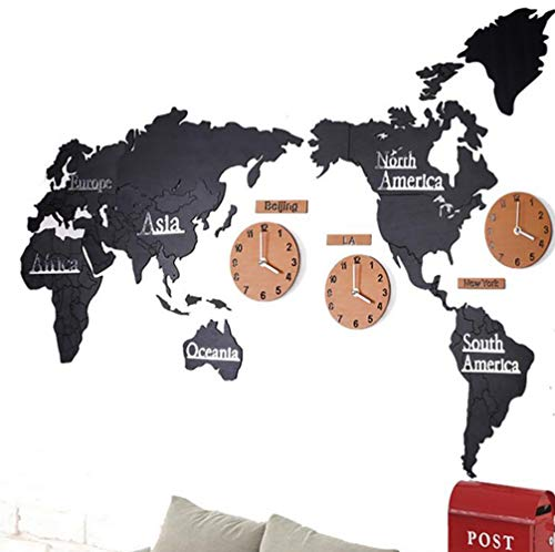 (Douup Creative Wooden World Map Wall Clock, Sofa Backdrop Home Decoration Stickers with 5 Clocks, Quiet Non-Ticking, Large 23X54 Inch,D)