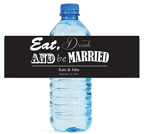 100 Contemporary Wedding Water Bottle Labels Party Event Bridal Shower