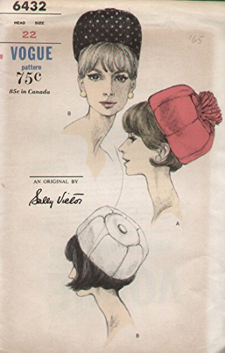 Vogue 6432 Sally Victor Millinery Pill Box Hat Sewing Pattern Head Vintage -