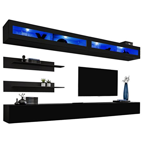 Contemporary Entertainment Wall Unit - MEBLE FURNITURE & RUGS Wall Mounted Floating Modern Entertainment Center Fly I (Black, I2)