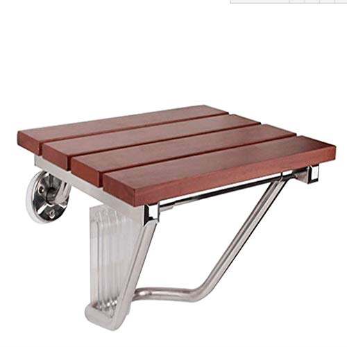(ZPWSNH Folding Wall-Mounted Shower Seat Shower Stool Solid Wood Bath Chair Mahogany Color Bath Stool (Size : 38×33.8cm))