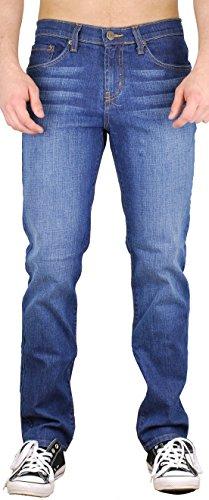 (BLU Mens Slim Fit Jeans 20 Colors Soft Stretch Skinny Denim Blue Light 36W x 32L)