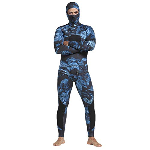 Pandaie Mens Camo 5mm Neoprene Thermal Wetsuits Hooded Scuba Spearfishing Diving Suit 2 Pieces Swimsuit Jackets Pants