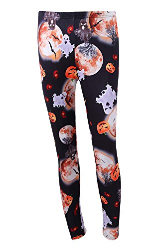 DREAGAL Halloween Scary Ghost Pumpkin Head Moon Printed Leggings For Women Small