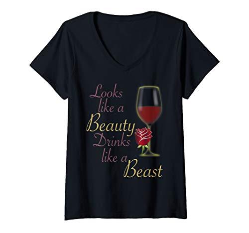 Womens Looks Like a Beauty Drinks Like a Beast Shirt V-Neck T-Shirt