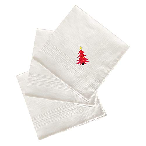 Handkerchief Box - H.FaceSSS 3 Pack Gift Box Handkerchiefs, 100% Cotton Pure White Pocket Square with Cute Xmas Pattern