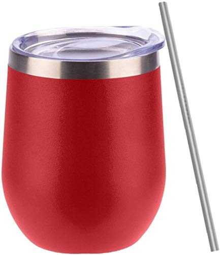 Wine Tumbler, Stainless Steel, Stemless Glass with Lid and Straw, 12 oz, Double Wall Insulated Travel Cup for Coffee, Wine, Cocktails, Ice Cream, BPA Free, Powder Coated, Shatterproof