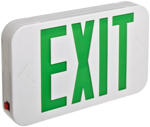 Morris 73016 Grn LED Wh Battery Backup Exit Exit (Classic White Exit Signs)