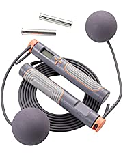 Jump Rope, Herui Adjustable Digital Counting Jump Rope with Exercise Cordless Ball and Weighted Handles, Speed Tangle-Free Skipping Rope with Alarm Reminder, Suitable for Indoor and Outdoor