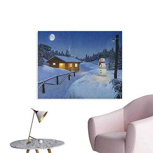 Anzhutwelve Christmas Wall Paper Wooden Rustic Log Cottage Scenery in The Winter Season Warm Moonlight Spirit Space Poster Blue White W36 xL24 ()