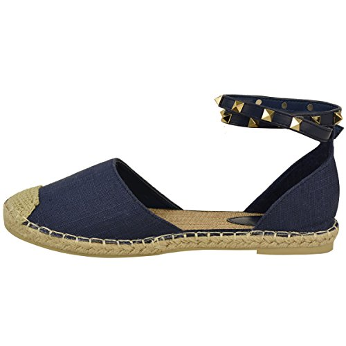 Fashion Thirsty Womens Ladies Ankle Strappy Flat Sandals Summer Espadrilles Rock Stud Shoes Size Navy Blue Hessian qAjFtkB