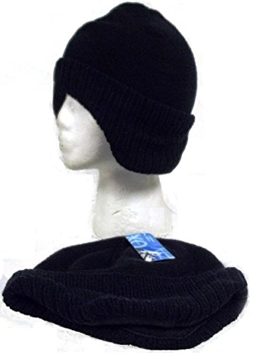 Black Knit Beanie Skull Cap with Earband Hat Ear Muffs Band Winter Head (Knit Earband)