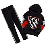 FTSUCQ Girls Hoodie Tracksuits Floral Printed Sweatershirt Coat + Pants