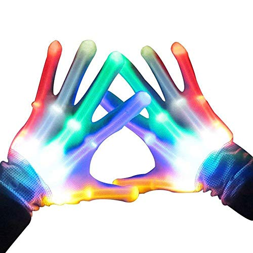 Children LED Finger Light Gloves Color Changing Flashing Skeleton Gloves for Costume Decoration Hip Hop Fluorescent Dance Shows Clubbing Rave Disco and Masquerade Theme Christmas Halloween -
