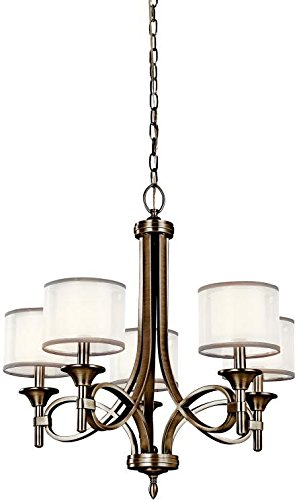 - Kichler 42381AP, Lacey Candle Chandelier Lighting with Shades, 5 Light, 300 Watts, Antique Pewter